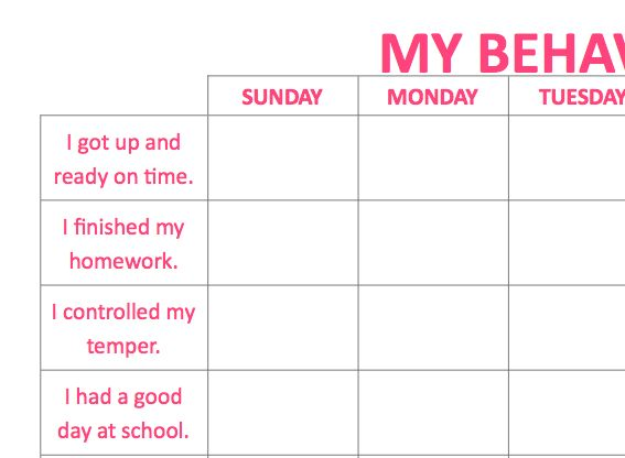 Printable Behavior ADHD Chart for Kids
