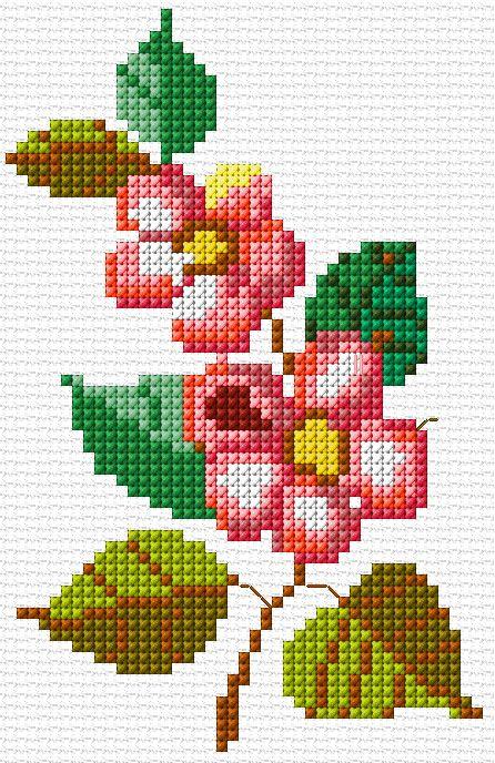 Bonitos bordados en punto de cruz de flores03