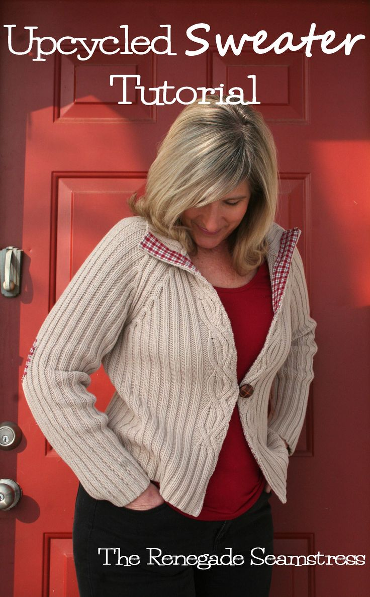 Upcycle an old sweater with this easy to follow photo tutorial by the Renegade Seamstress...I have never been a really big fan of elbow patches...so maybe I would use the same fabric to make a pocket