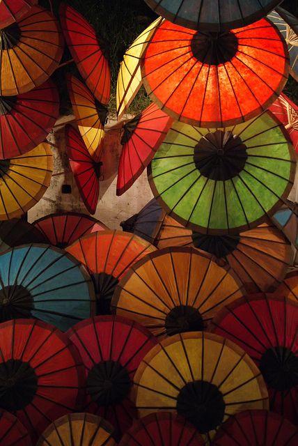 Colourful parasols (umbrellas) on sale at the night market in Luang Prabang, Laos