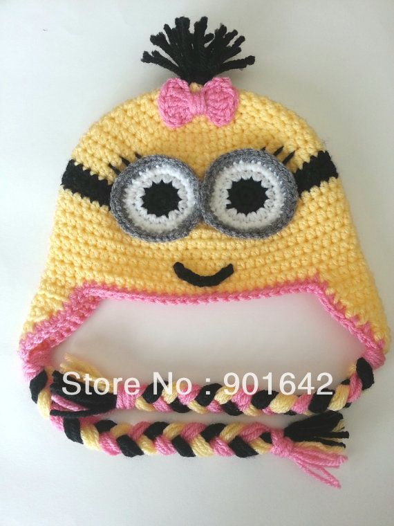 1PC Retail Two Eyes Girl Minion Hat With Pink Bow,Minion Hat crochet pattern - despicable me Hat With earflap(China (Mainland))