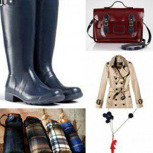 Outfit da giorno: Trench Burberry, borsa Cambridge Satchell, ombrello tartan di H2O, stivali della pioggia Hunter, collana lilianadesign su etsy.com
