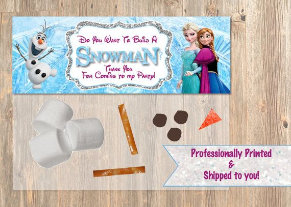 Do You Want To Build a Snowman? Frozen Favor Bag Toppers - Disney Frozen Birthday for Party Treat Candy. Frozen Birthday Supplies.