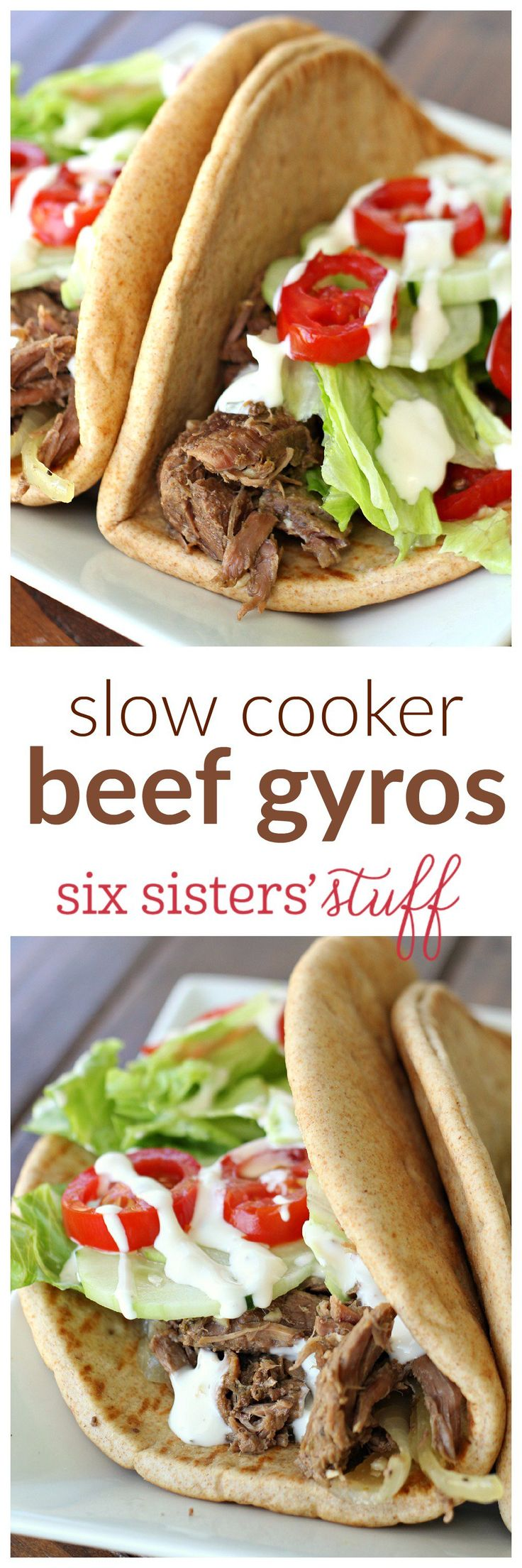 Slow Cooker Beef Gyros on SixSistersStuff.com - so easy and delicious!