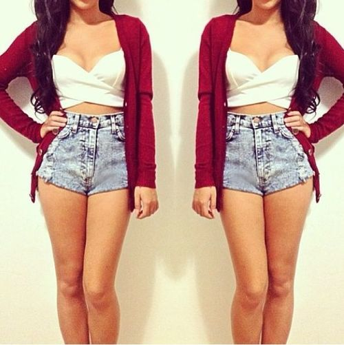 High waist shorts, crop top, and sweater! | My Style ...