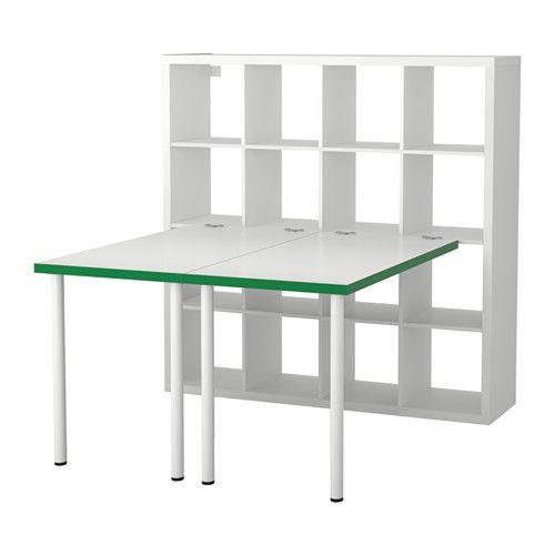 IKEA - KALLAX, Combinazione con scrivania, bianco/verde, , Puoi usare il mobile come divisorio poiché è rifinito su tutti i lati.Fori predisposti per le gambe: facilitano il montaggio.Puoi spostare il tavolo senza timore, grazie ai piedini che proteggono il pavimento dai graffi.Puoi usare l'accessorio di collegamento per fissare a uno scaffale KALLAX qualsiasi piano tavolo del nostro assortimento, purché non sia in vetro.L'accessorio di collegamento non graffia e non danneggia il…