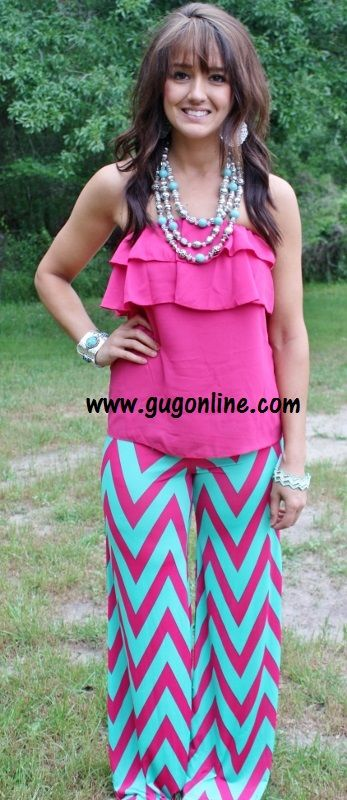 Walk This Way, Talk This Way Hot Pink and Mint Chevron Pants-NOW IN PLUS SIZE $34.95 www.gugonline.com