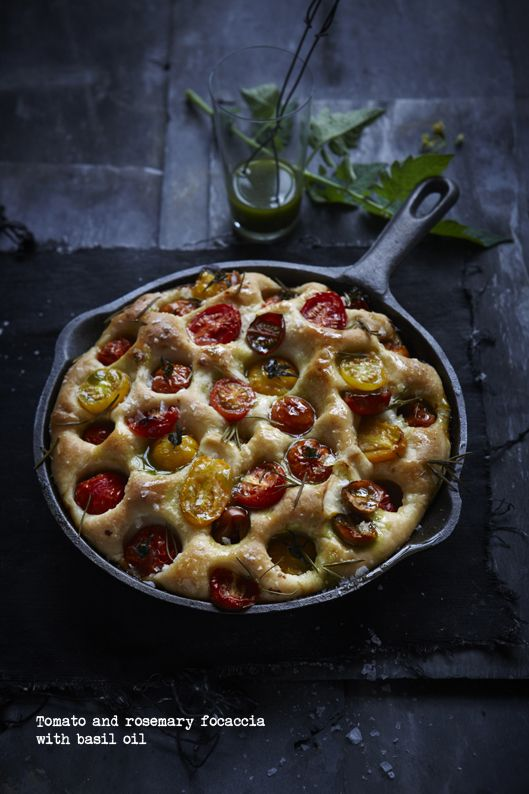 Tomato and Rosemary Focaccia with Basil Oil