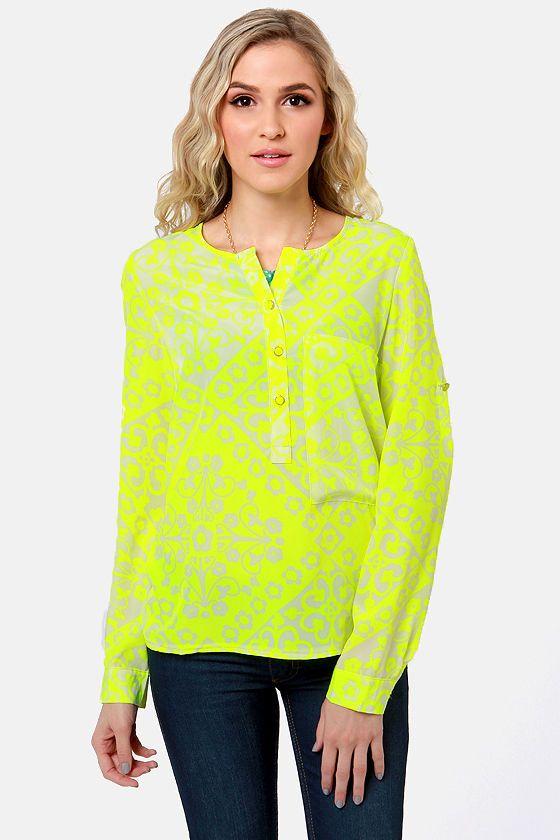 Cute Neon Yellow Top - Floral Print Top - Long Sleeve Top - $57.00