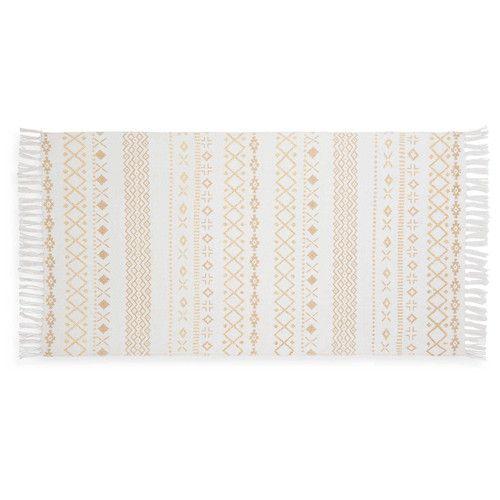 Teppich Mit Ethno Motiven Weiß Und Goldfarben 120 X 60 Cm Phoenix