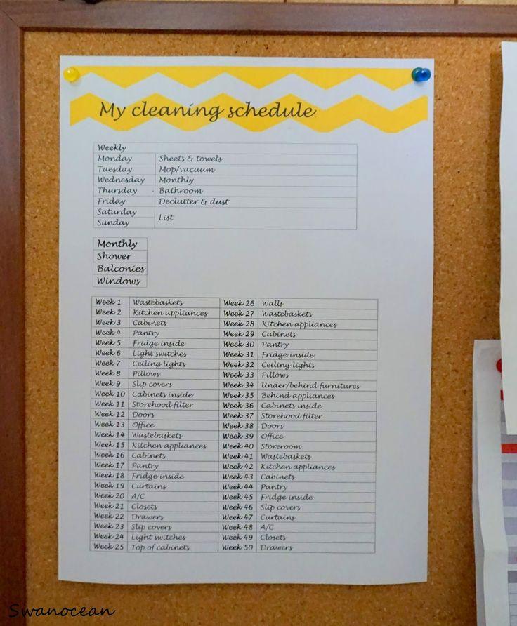 My cleaning schedule-Το πρόγραμμα καθαριότητάς μου