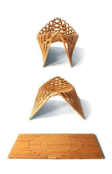 Natural wood, geometric, nature inspired, inventive. Rising furniture. Robert Van Embricqs