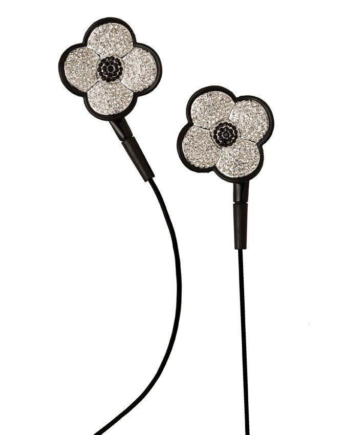Earphones with swarovski crystalls (clover).Compatible with apple products & devices with plug 3.5mm.http://www.e-boutique.gr/akoustika-akoustika-mikrofono-mafro-louloudi-swarovski-p-55.html