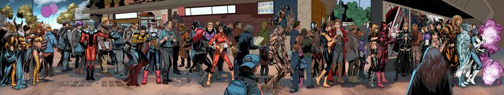 If you ever wanted to see Salvador Larroca drawn a really looong image of Marvel characters waiting on line to see Star Wars: The Force Awakens, now's your big chance!