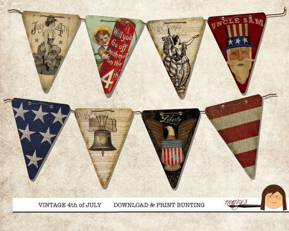 Vintage 4th of July Bunting Flags by MarysMontage on Etsy, $3.50