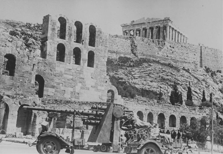 A German Flak 88 AA gun is photographed in front of the ancient Acropolis of Athens and the Parthenon temple in early May 1941 after the Greek capital was occupied by victorious German forces.