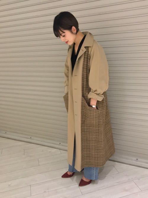 0ddbaf1ce59ccc Shiori Tanida(ビューティ&ユース ユナイテッドアローズ 大阪店)|6(ROKU) BEAUTY&YOUTH UNITED ARROWSのステンカラーコートを使ったコーディネート【2019】  ...