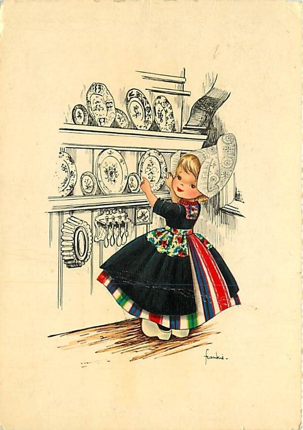 Dutch girl vintage post card.