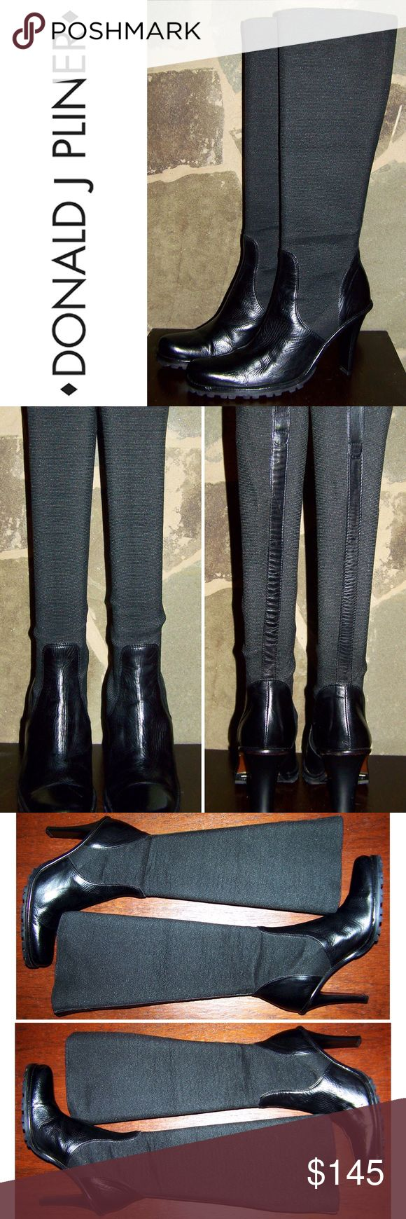 "Donald Pliner Black Leather Knee High Stretch Boot Donald J Pliner black leather elastic stretch knee high boots size 6. Great condition may be a bit of stretching in the elastic, some creasing in toe upper, please see photos. Heel height is 4"". Clean and ready to wear.   f454 Donald J. Pliner Shoes Heeled Boots"