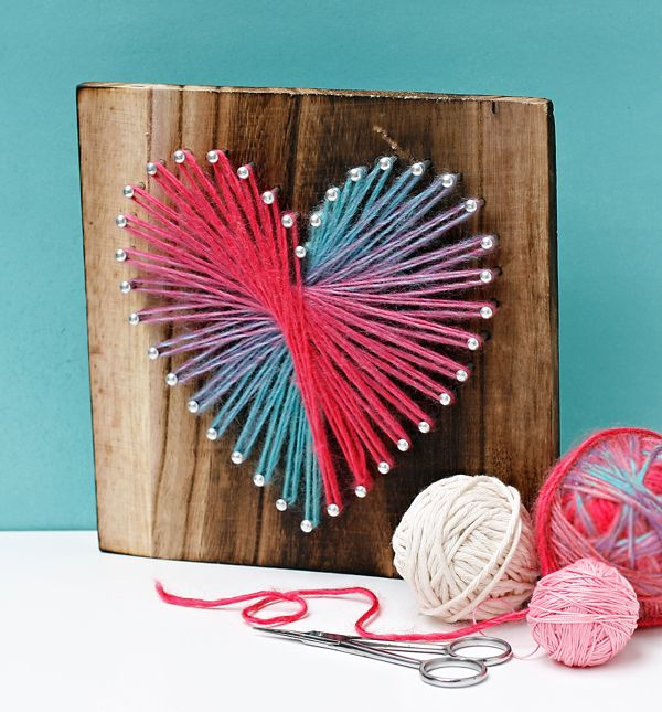 Ombre or variegated yarn makes for beautiful string art! One problem that  I've run into though is that the yarn color changes too slowly, and as a  result, the finished piece doesn't have much variation. To solve that  issue, gather your supplies and follow these steps.  Supplies needed:     1. Variegated or Ombre yarn    2. Pegged Board: I used the heart from my String Art craft line. It       comes with the pegs set.    3. Scissors   Instructions:     1. Tie your string to the top center…