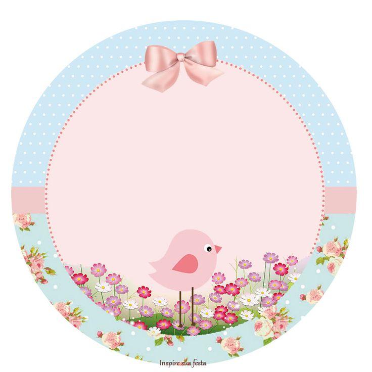 Pajarito Rosa en Fondo Shabby Chic: Etiquetas para Candy Bar e Imprimbles Gratis para Fiestas.