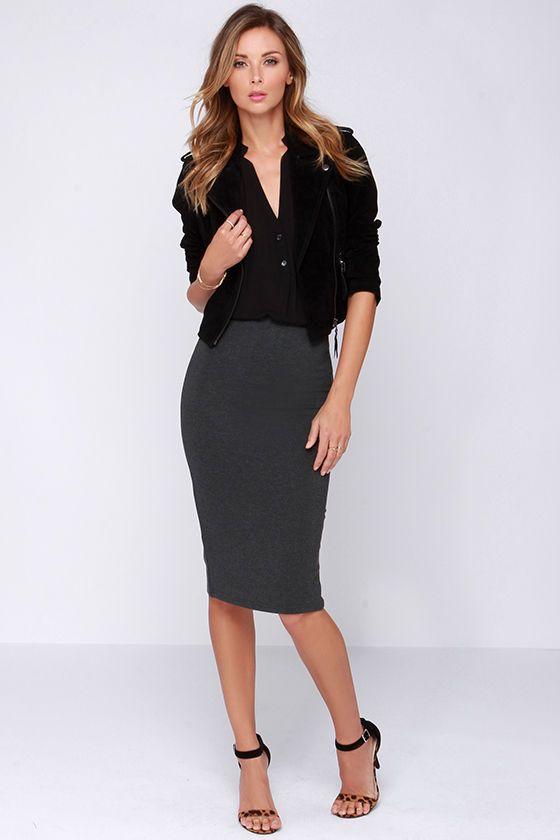 Glamorous Love Language Grey Bodycon Midi Skirt at Lulus.com!