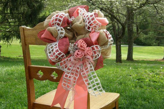 Burlap Wedding Decor Coral Burlap Wreath by Underthekentuckysun