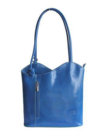 Multi-Way Blue Leather Shoulder Bag/Backpack - £49.99