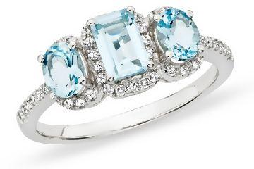 ICE:   21/2 Carat Aquamarine  Diamond 14K White Gold Ring: Diamond Engagement Rings, Diamond Rings, Diamonds, Aquamarine Birthstone Ring, Gold Rings, Wedding Rings, Aquamarine, Blue Engagement Rings
