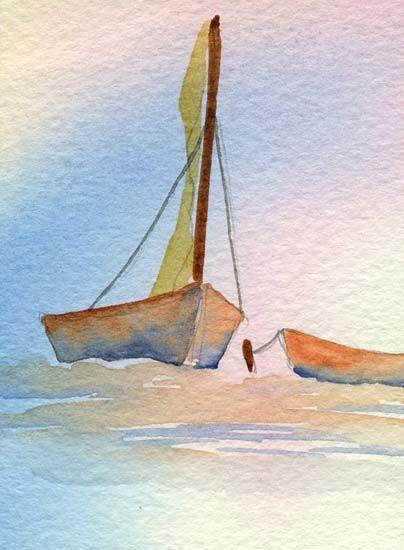 Barques au mooring - artiste inconnu