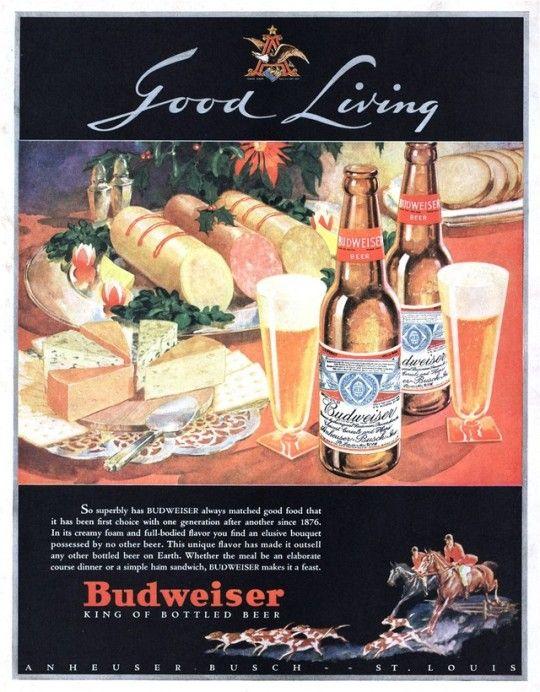 1933 Budweiser ad - one of the first after repeal of Prohibition