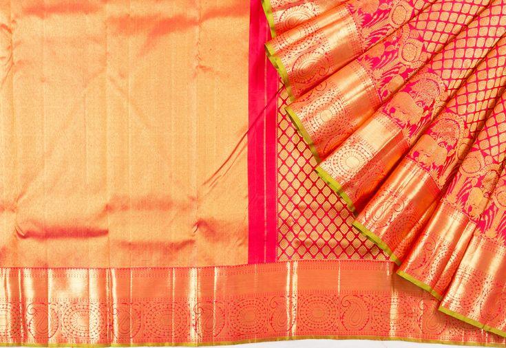 Kanchipuram Silk Brocade Pink Saree - Kanchipuram - Fabric  | Kankatala
