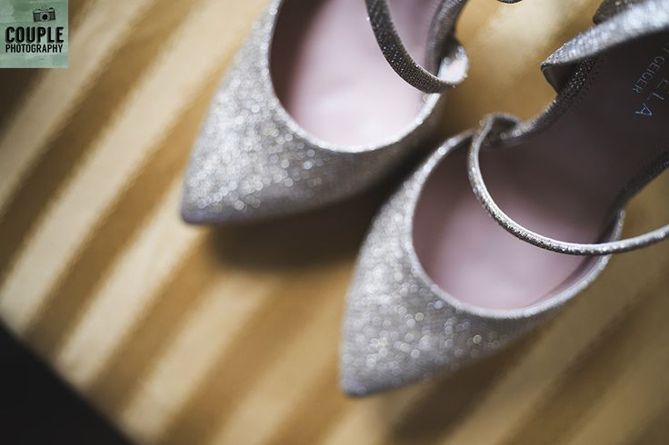 The bride's sparkly wedding shoes. Wedding at Summerhill House Hotel by Couple Photography.