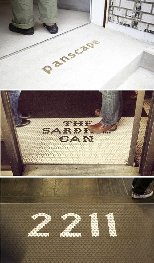 branded floors (love the vintage hexagonal  tile look)