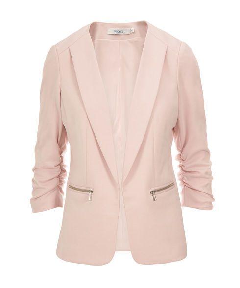 Knit Ruched Zipper Blazer, Blush Pink #rickis #winter #winter2016 #winterfashion #rickisfashion #blushpink #prettyinpink #colourofthemoment #loverickis