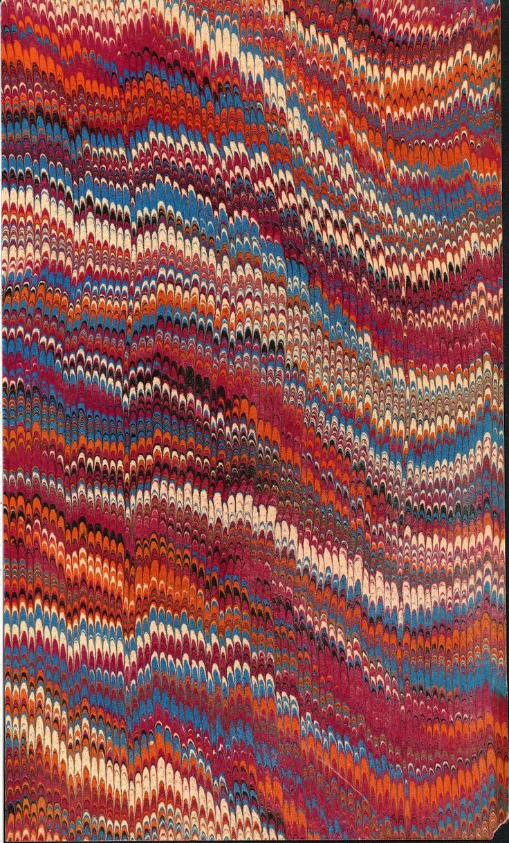 Vintage 19th c. marbled paper, Nonpareil pattern