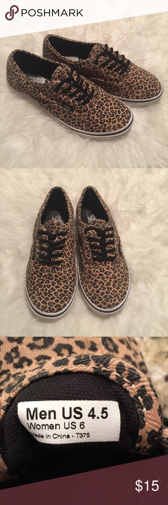 Leopard vans. Leopard print vans. Leopard shoes Very good used condition leopard Vans. Minimal wear with light fading. No holes. Please see photos for wear and details. No low ball offers, reasonable offers considered. Vans Shoes Sneakers