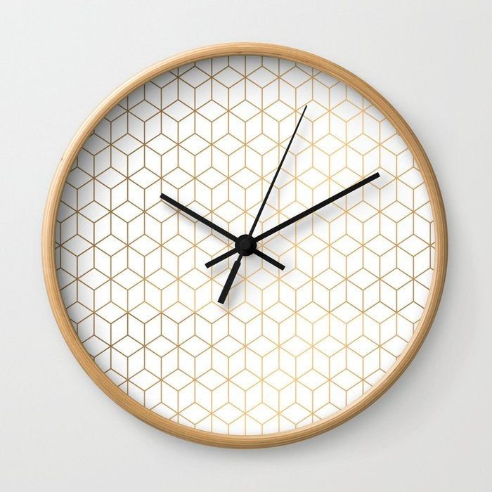 Gold Geometric Pattern On White Background Wall Clock Etsy Gold Wall Clock Minimalist Wall Clocks Wall Clock