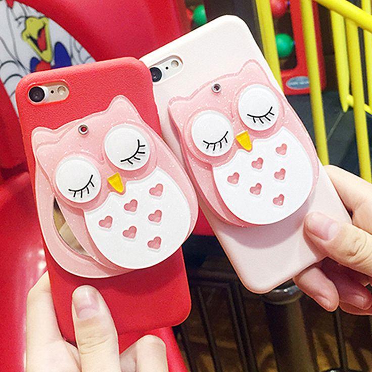 Sleeping Owl Phone Case with Mirror