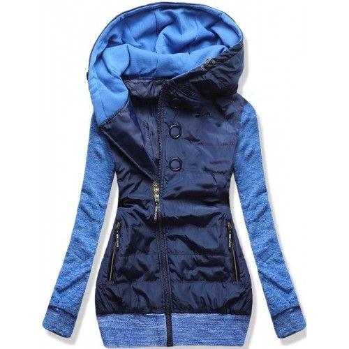 Dámská jarní/podzimní bunda Donie modrá – modrá – originální kombinace bundy a mikiny – asymetrický zip – tři ozdobné kolečka – dvě přední kapsy na zip – lemy ve spodní části i na rukávech Střih: …