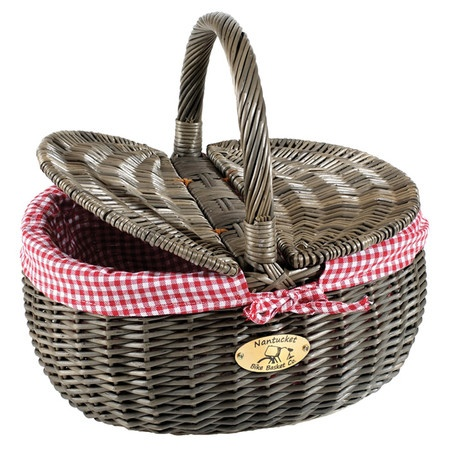 Willow picnic basket in gray with a red gingham liner. Brackets attach to handlebars.  Product: Bicycle basketConstr...