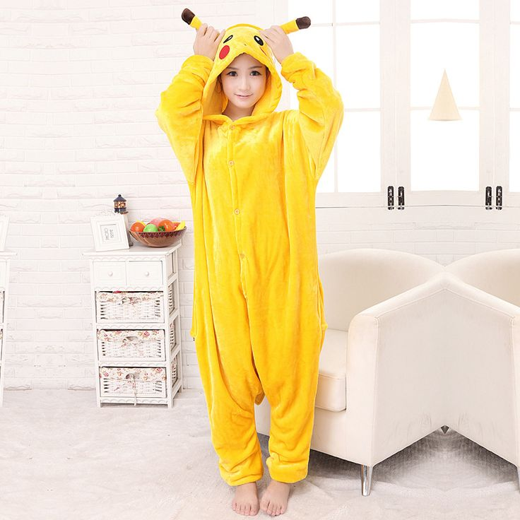 Flannel Warm Onesies for Adults Pikachu Onesie Home Clothing Sets Pajamas Woman Cartoon Cosplay Christmas Women Pijama FT210 #Affiliate