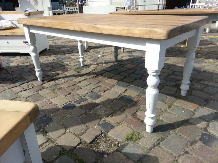 Esstische - 160x93 cm Esstisch ♥ Massiv Holz Gelebt Natur/Weiß - ein Designerstück von maisonkimberly bei DaWanda