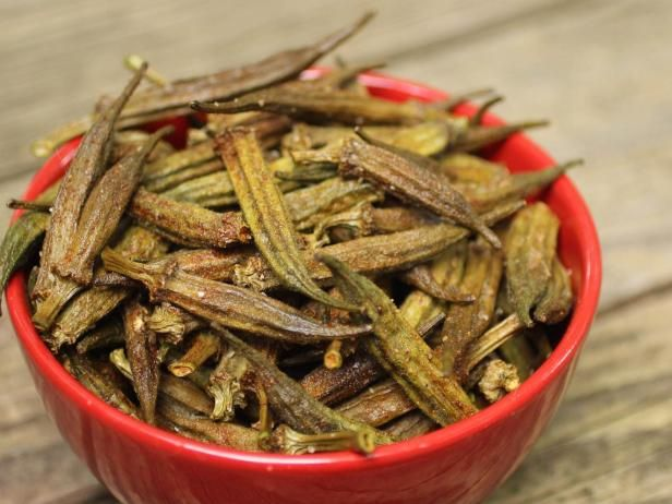 It may not be pretty, but dehydrated okra is a crunchy snack that's hard to resist.