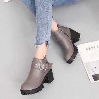 Warm Fashion and Comfortable Martin Boots - GRAY 39