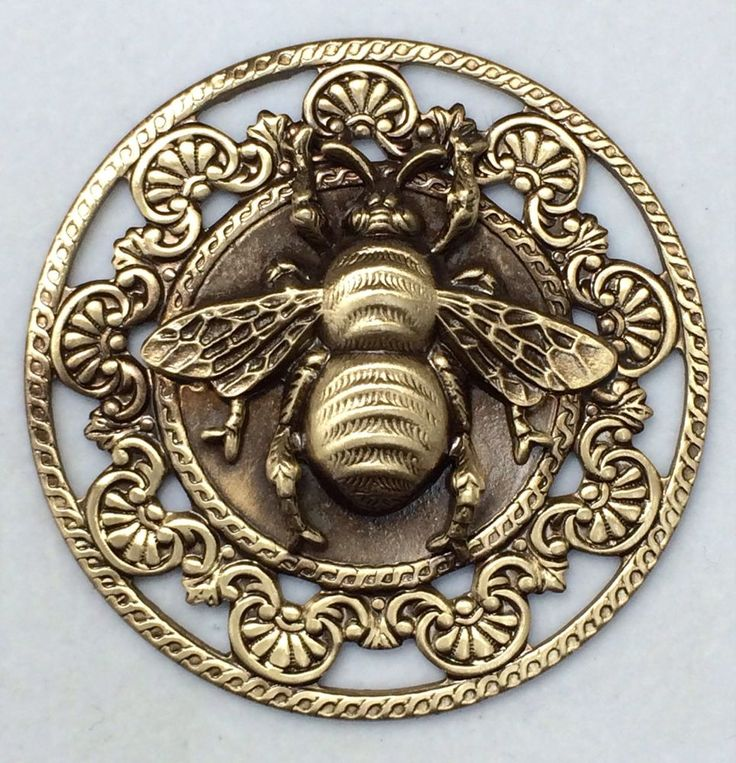 """Large Stamped Brass Vintage Style BEE Picture Button~ 1 3/4"""" Inch  ///// Apiary Supplies - Beekeeping Supplies - Honey Supplies found at Apiary Supply 