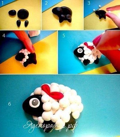 Polymer clay sheep tutorial /овечка из полимерной глины, легко и просто, мк