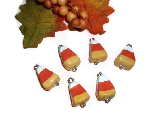 Candy Corn Charms Halloween Charms Polymer Clay by bowsngifts, $4.00