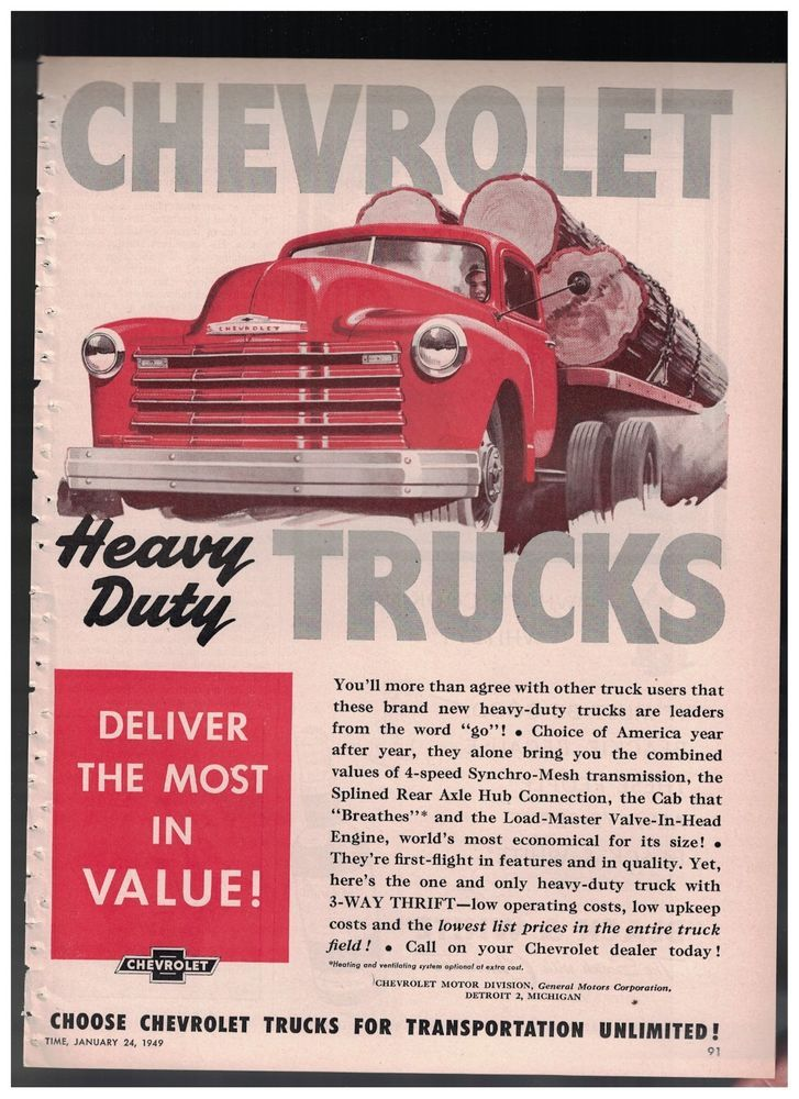 1949 Chevrolet Heavy Duty Trucks Ad - Deliver The Most In Value