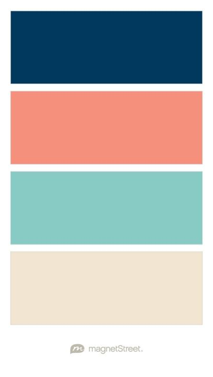 Navy, Coral, Custom Teal, and Champagne Wedding Color Palette - custom color palette created at MagnetStreet.com